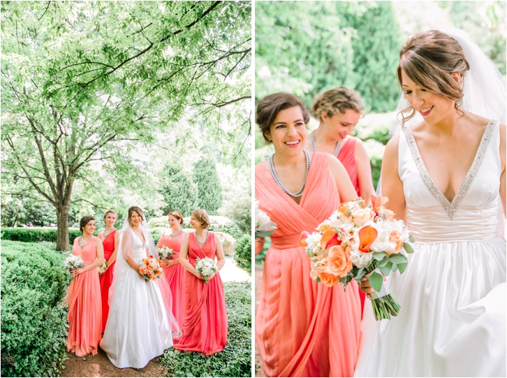 Coral Bridesmaid gowns