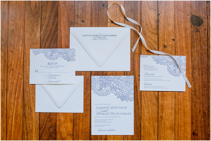 white and lavender wedding invitation by minted.com