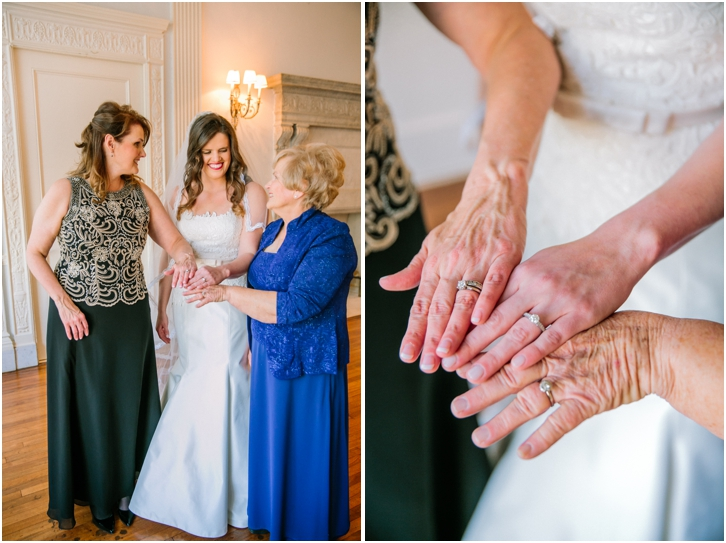 Three generations hand photo with bride
