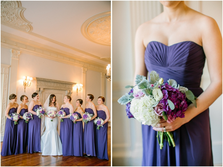 deep lavender bridesmaid dresses, purple, lavender, and white bouquet