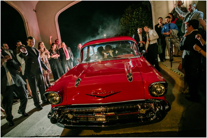 Red Vintage Car Wedding Exit