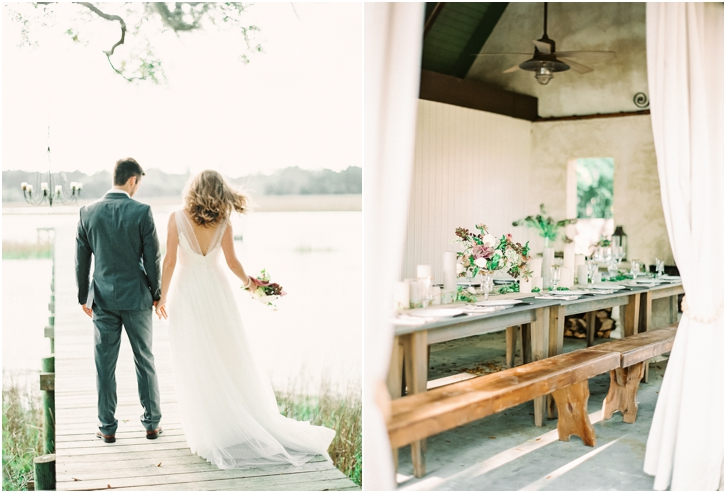 Bride and Groom on Dock at River Oaks Charleston
