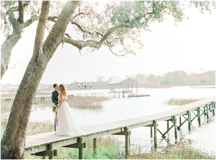 Bride and Groom Photos on Dock in Charleston