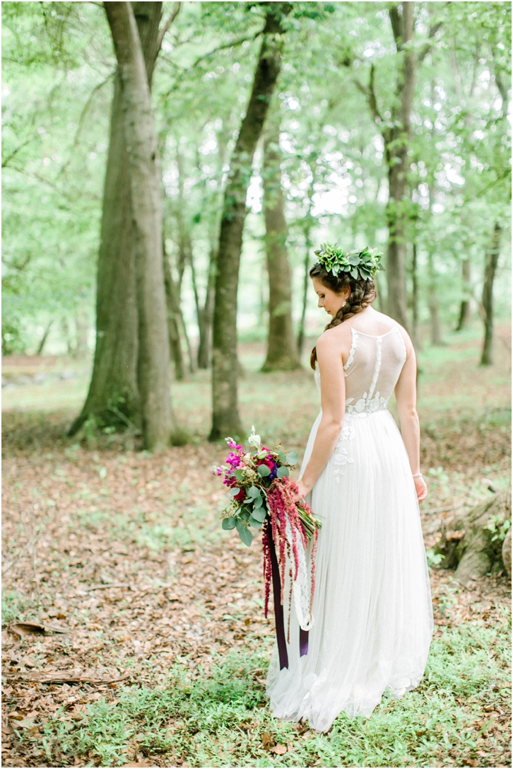 Bride with flower crown and colorful bouquet