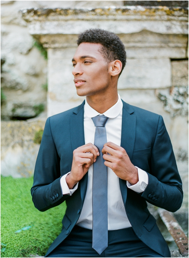 dark blue groom suit