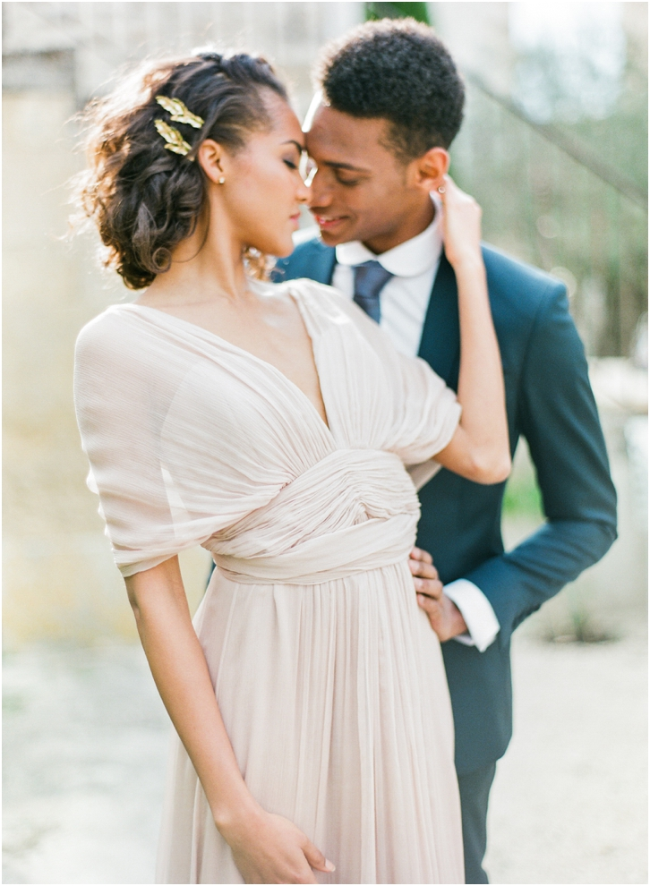 Romantic Blush Bridal Gown by Martine Toledano