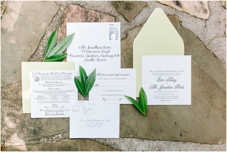 Mint and White Wedding Invitation Big Canoe Georgia Wedding