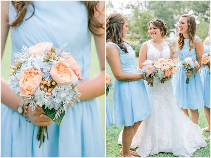 Bouquet with blue hydrangeas, Hypericum Berries, and peach peonies