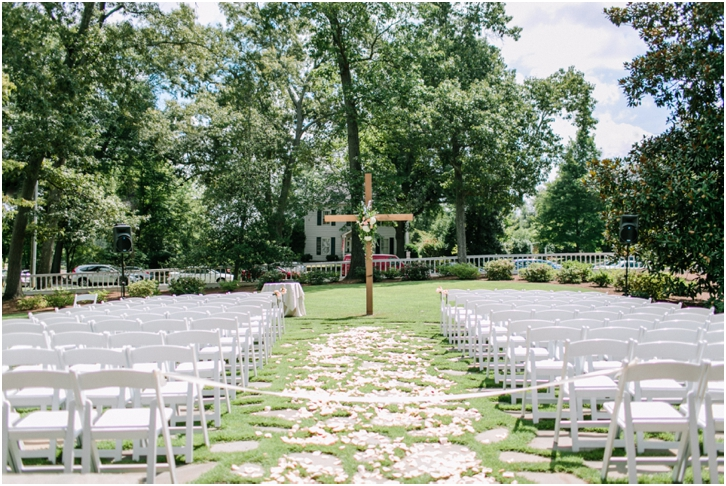 Ceremony Decor with Cross at Primrose Cottage Wedding 0043