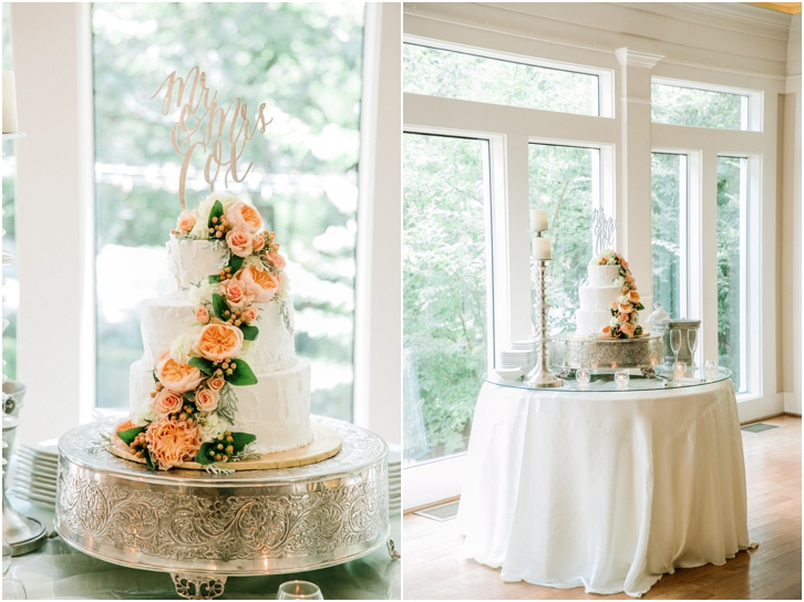 White Wedding Cake with Peach and Green florals Primrose Cottage