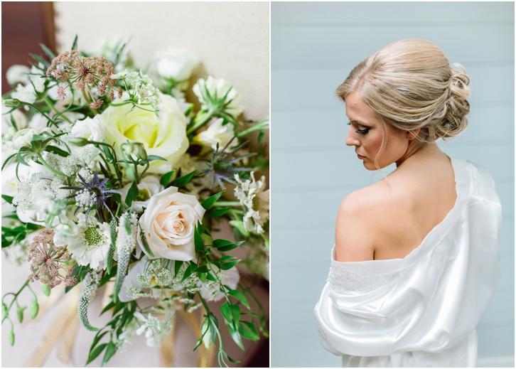 bridal robe and organic bouquet