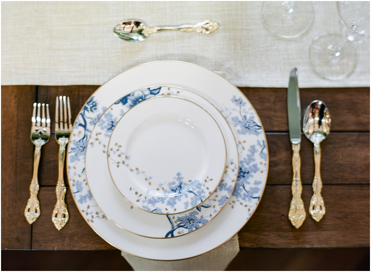 Blue, White, and Gold China Wedding reception decor Foxhall Resort
