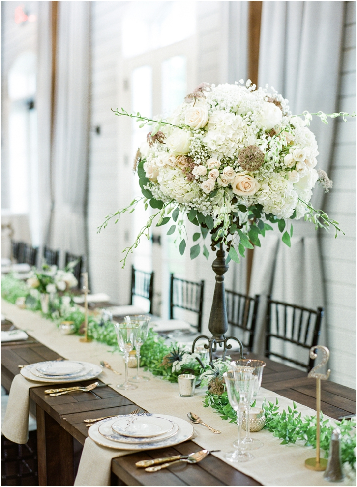 Elegant White and Green Reception Flowers