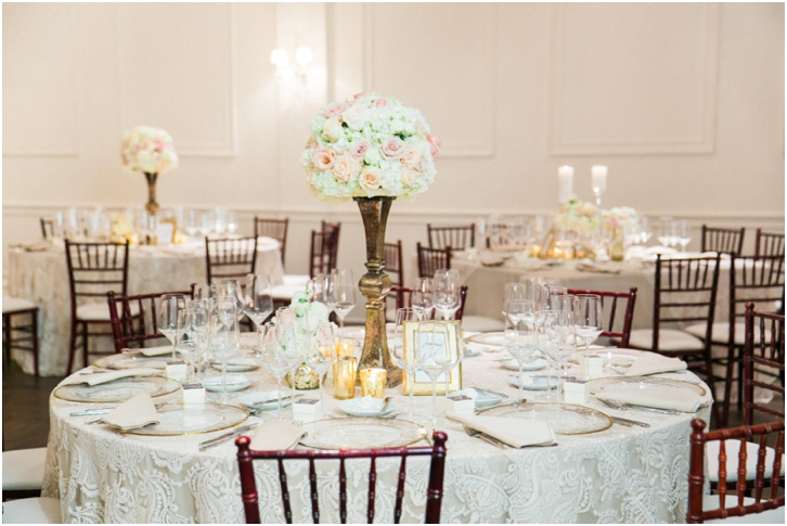 White and blush reception decor