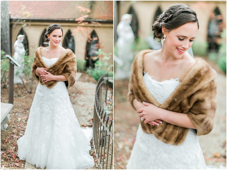Bridal gown with fur wrap