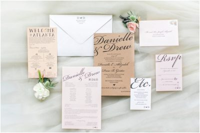 blush and white calligraphy wedding invitation