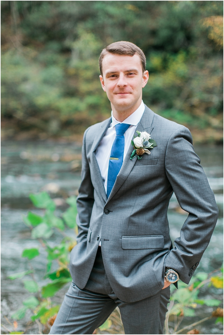 Groom at Roswell Mill Wedding