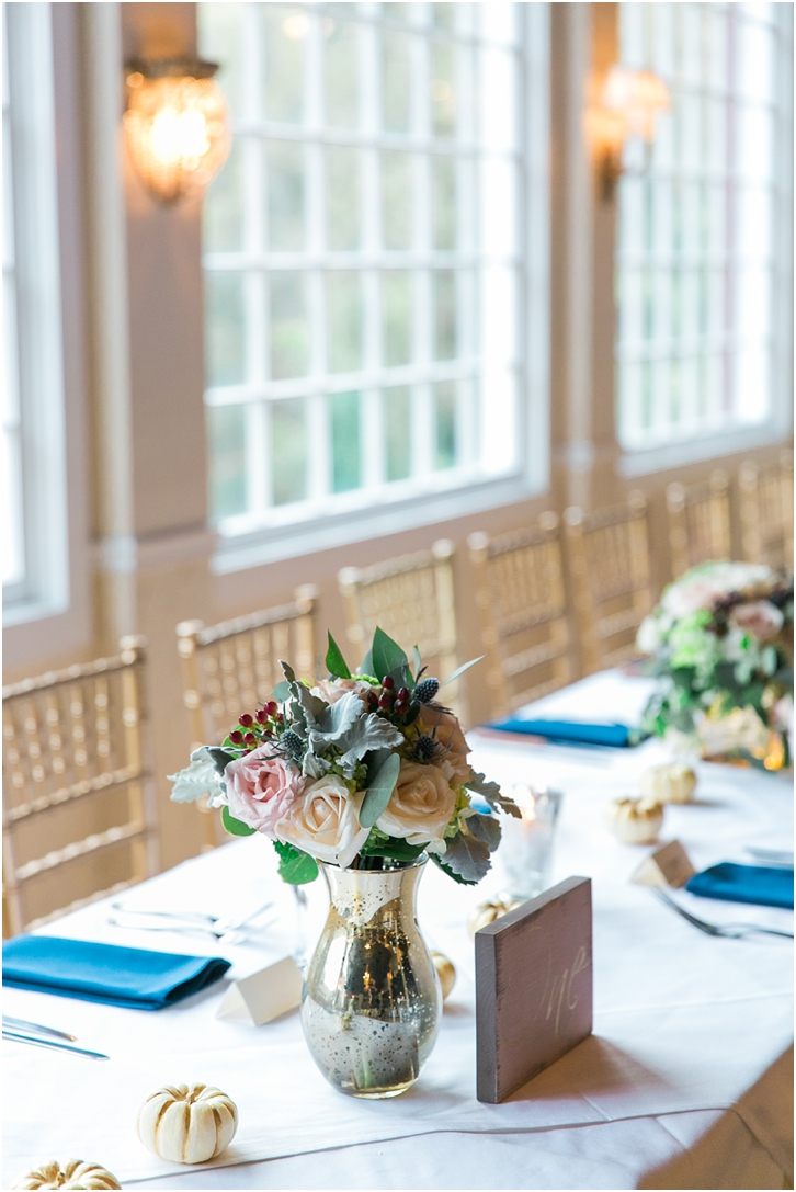 Blue and Blush reception decor roswell mill wedding