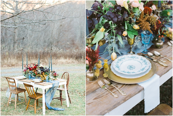 Jewel Tone Organic Reception Table Setting Ideas, Farm Table, Dusky Blue Candlesticks