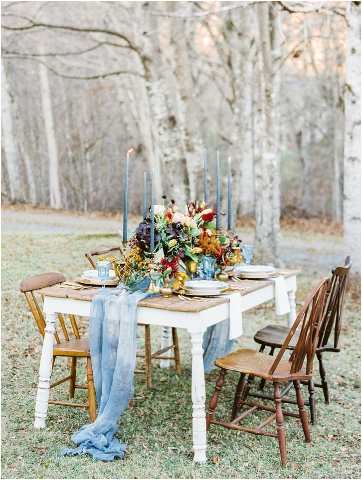 Jewel Tone Reception Decor Ideas with Farm Table