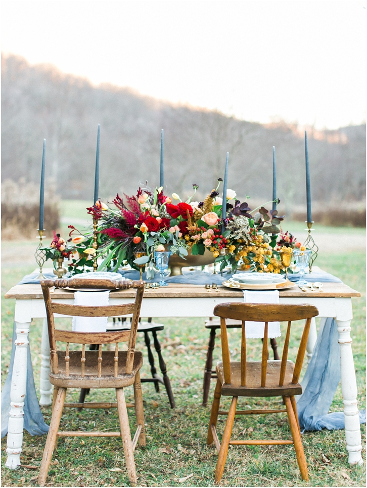 Jewel Tone Wedding Flowers & Reception decor, Farm Table, Large Flower arrangement