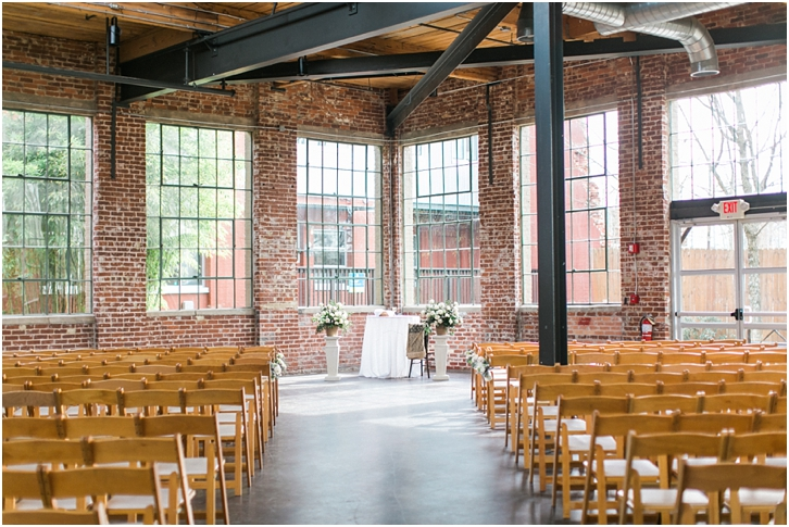 Wedding Ceremony At the Foundry Puritan Mills