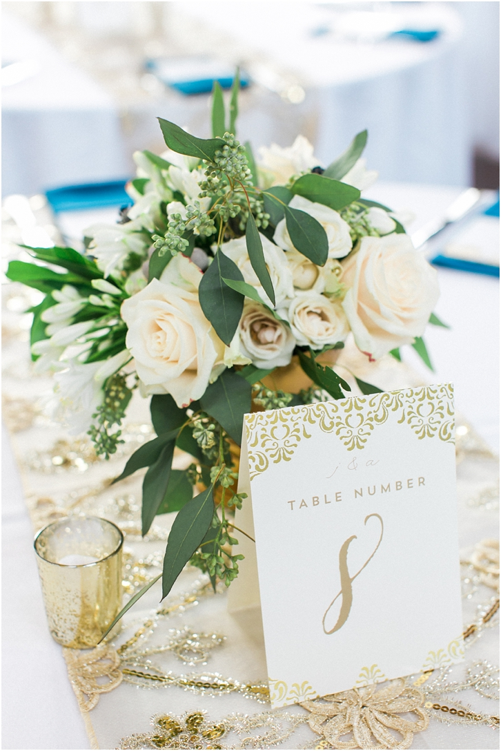 Gold and white table numbers The Foundry