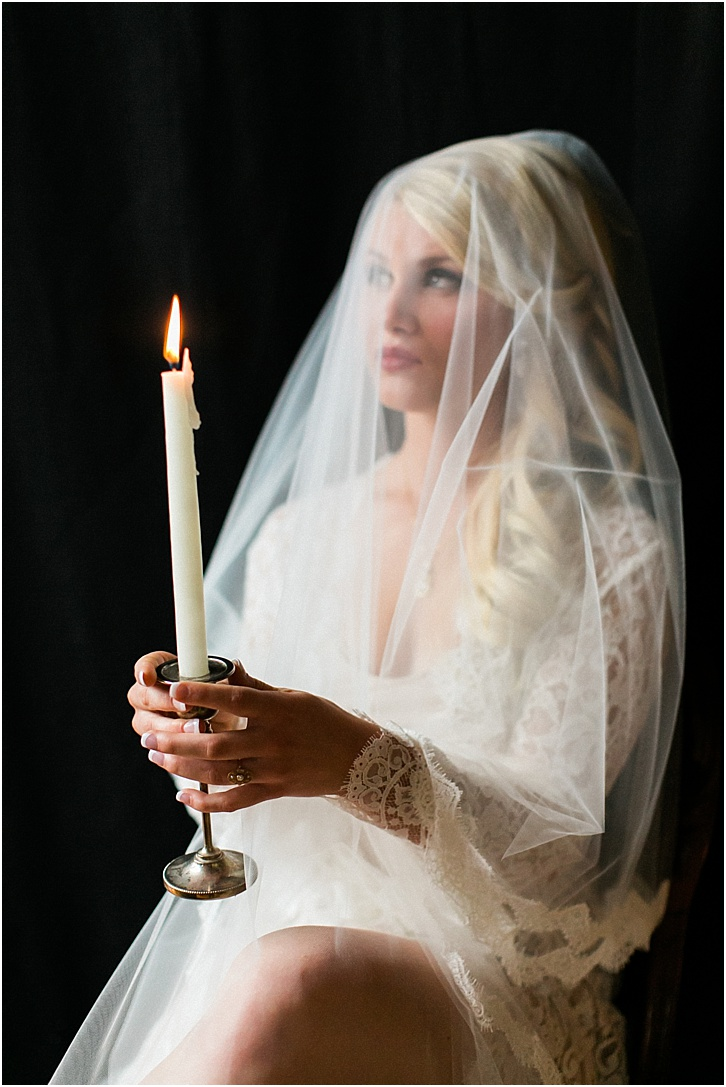 Boudoir Photos with candles and veil