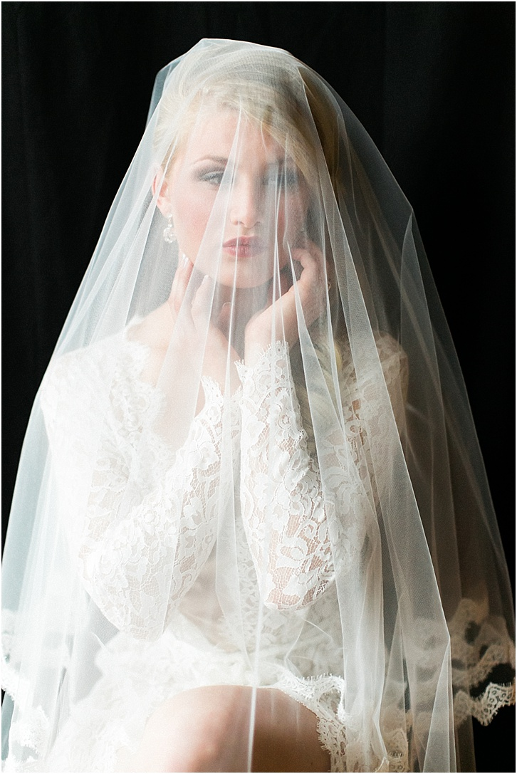 Lace Robe with Veil Boudoir