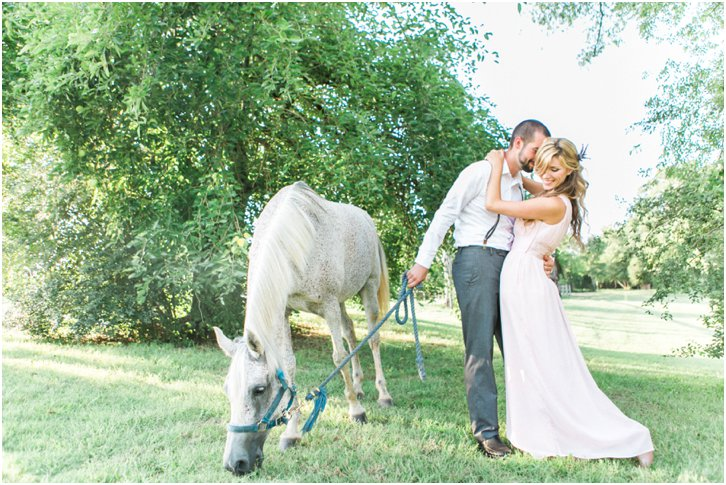 Engagement Photos with a white horse