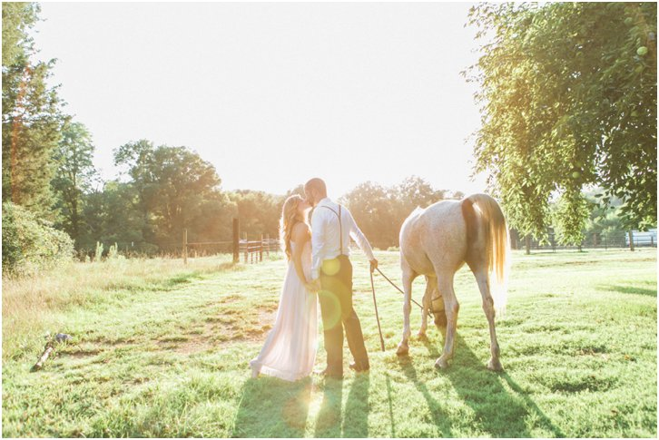 Romantic Engagement Photos with a horse